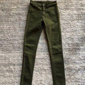 Carmar Olive Green High-Rise Skinny Jeans